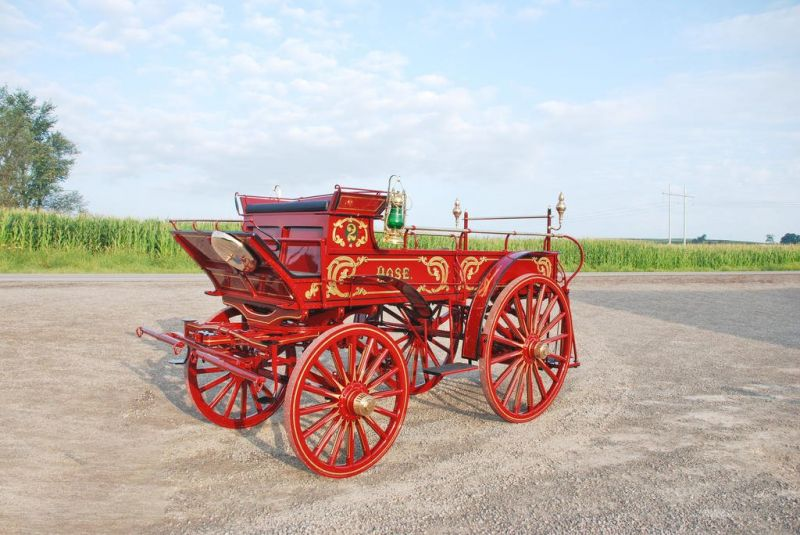 Fire hose wagon featured at the Mid-Ohio Draft Horse Sale